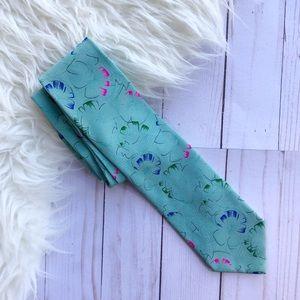 Fendi 100% Silk Blue Floral Tie
